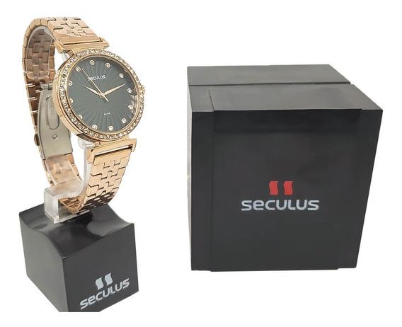 Relógio Rosê Feminino Seculus 20738lpsvrs3 Garantia