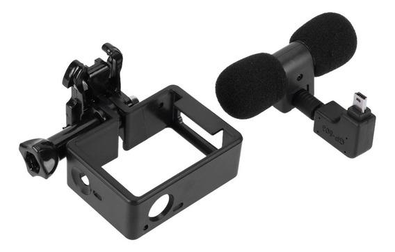 Case Moldura Frame Microfone Mini Usb P/ Gopro Hero 3 3+ 4