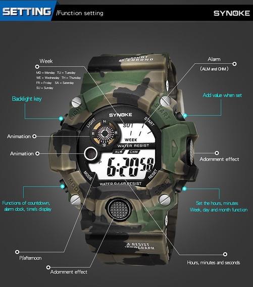 Relógio Camuflado Tático Militar Exército Estilo G Choque