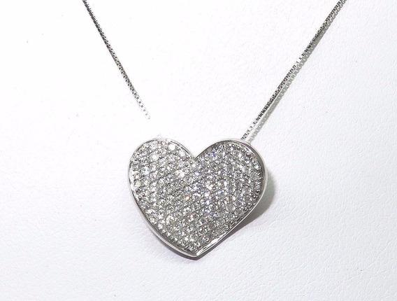 Pocao2005- Colar Ouro Branco 18k750 Coração Diamantes C140