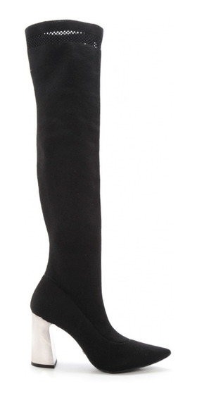 Bota Over Knee Bico Fino Sock Com Strech Salto Grosso Cromad