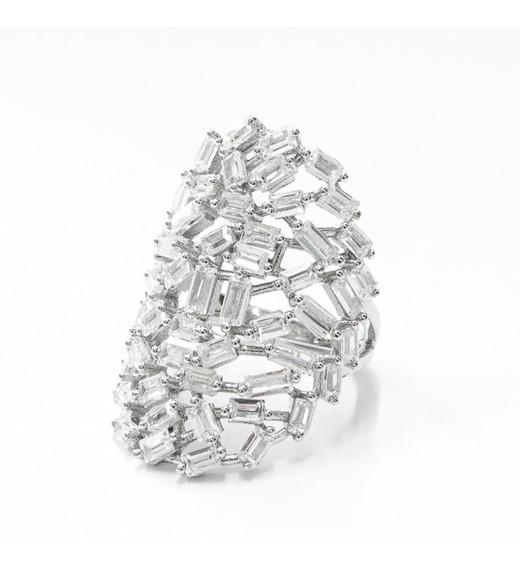 Anel Prata 925 Com Pedras - Grande