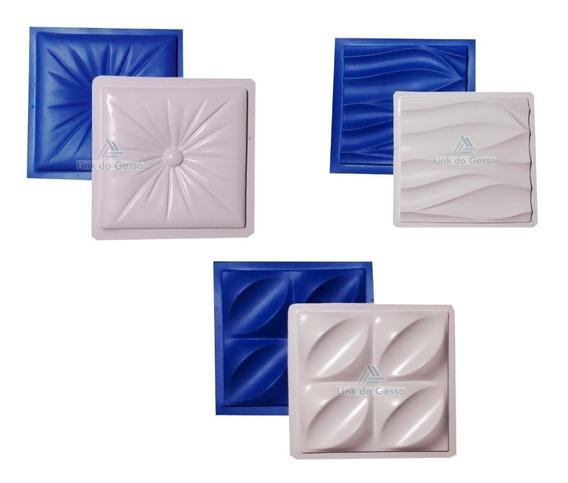3 Formas Kit Molde Gesso 3d Modelo Plastico + Borracha Eva