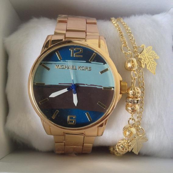 Promoção 2 Relógios Feminino +caixa Branca E Pulseira Folhea