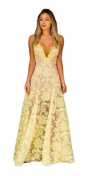 Vestido Longo Festa Renda Tule Amarelo Casamento
