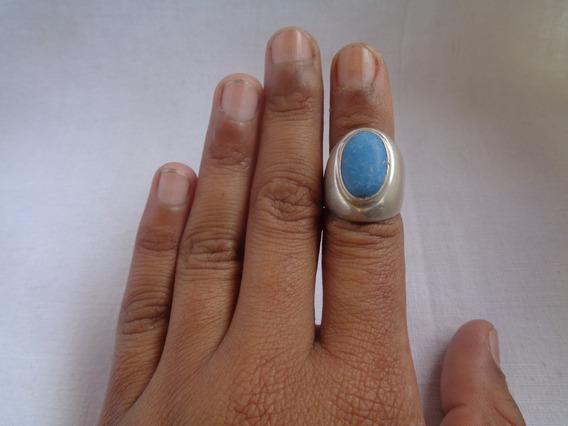 Anel Prata De Lei Pedra Turquesa Aro 17 Azul - 13*