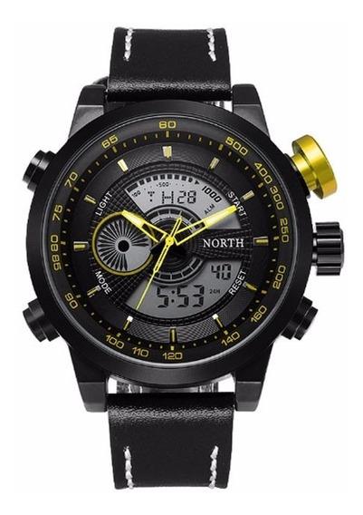 Relógio De Pulso North N6015 Preto E Amarelo Pulseira Preta