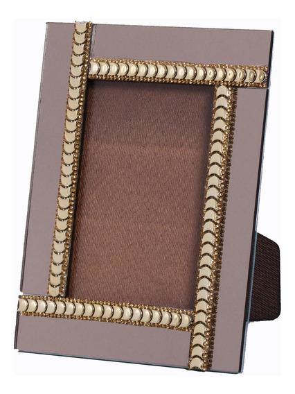 Porta Retrato Espelhado Bronze Decorado - Luxo Aparador