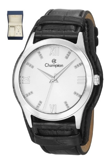 Kit Relógio Champion Feminino Pulseira Couro Cn20346c Oferta