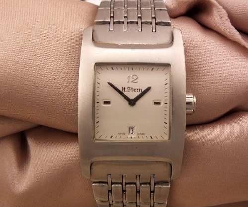 Relógio De Pulso H Stern Quadrado Em Aço Visor De Vidro Original Assinado Com Dia Da Semana Date Unissex J12627