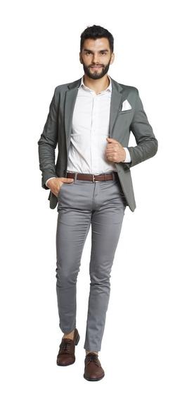 Trajes Hombre Saco Slim Fit Con Chupin Camisa Y Pañuelo