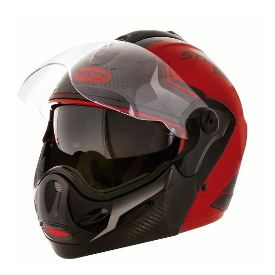 Capacete para moto escamoteável Mixs Captiva Street Rider vermelho tamanho 60