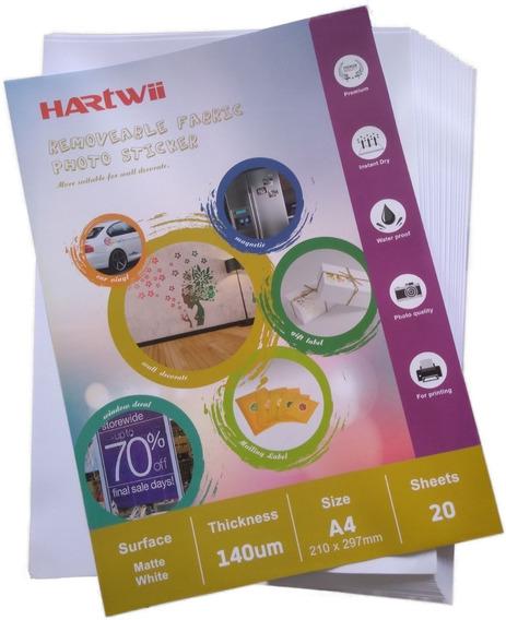 Vinilo Autoadhesivo Reposicionable Inkjet A4 20hj Hartwii