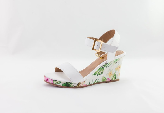 Sandália Anabela Debelly Salto Médio Aberta Branco C/ Floral