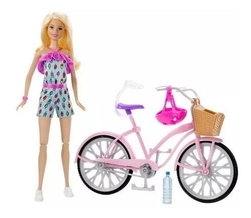 Barbie Set Paseo En Bicicleta Muñeca Con Bici