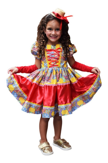 Vestido De Festa Junina Caipira Quadrilha Infantil E Luva