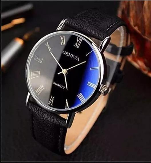Relógio Masculino Geneva Azul Preto Luxo
