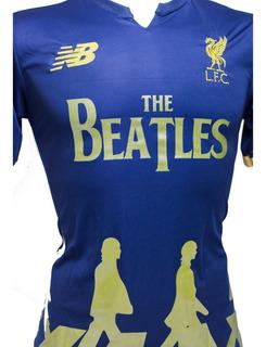 Camisa Do Liverpool Beatles Preta Branca