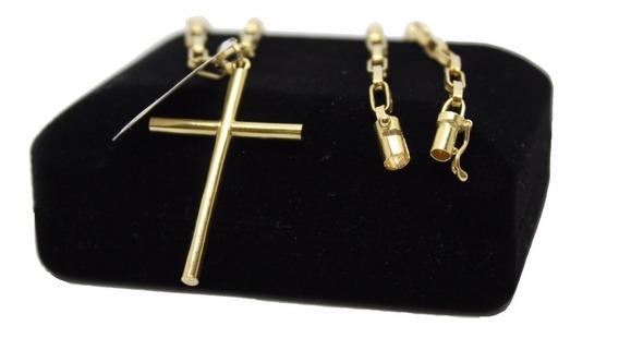 Corrente E Pingente Cruz Masculina Ouro 18k 60cm 3mm *