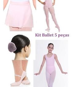 Kit Collant Manga C/ Decote - Ballet - Capezio Infantil Rosa
