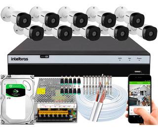 Kit Cftv 10 Cameras Vhd 1220b G5 Intelbras Dvr 16 Canais 2tb