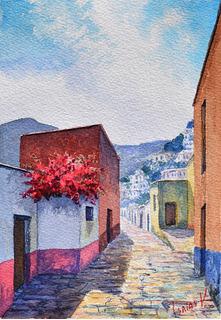 Calle Peñitas, Gto. - Isaías Velázquez - Acuarela