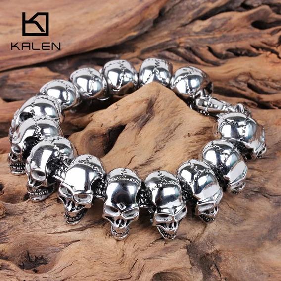 Pulseira Caveira Crânio Luxo Metal Gótico Aç Inoxidável
