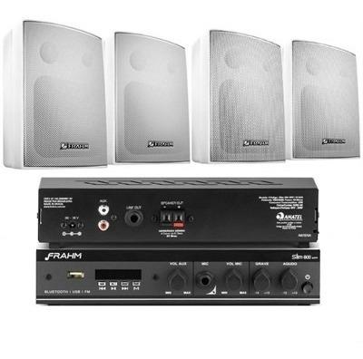 Frahm - Kit Sonorização Ambiente Com 1 Slim800 App + 4 Ps200