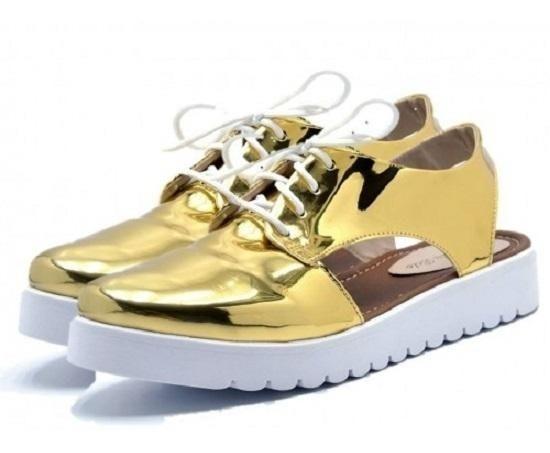 Sapato Feminino Oxford Com Cadarço E Abertura Lateral