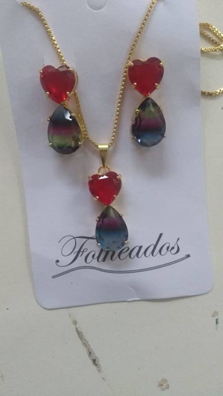 Conjunto Bicolor Rainbow Colar + Brinco Semijoia Feminino