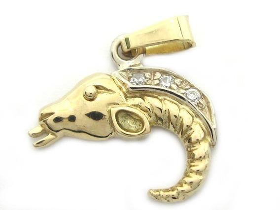 Joianete E9019-10067 Criativo Pingente Peixe Ouro Zirconeas