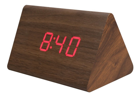 Reloj Digital Led Despertador De Madera 12cm Alarma Fecha