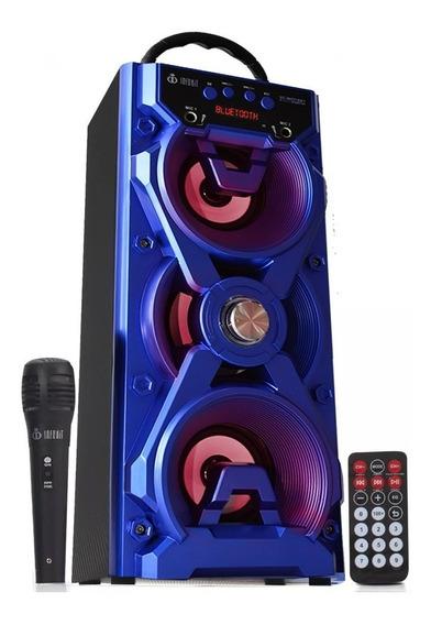 Caixa De Som Bluetooth Amplificada Portátil Com Microfone