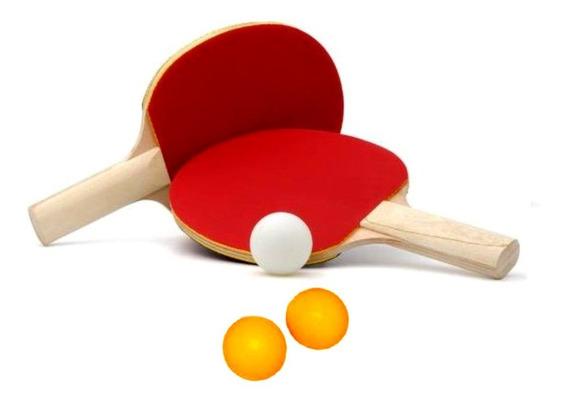 Kit Ping Pong Tênis Mesa Com 2 Raquetes E 3 Bolinhas