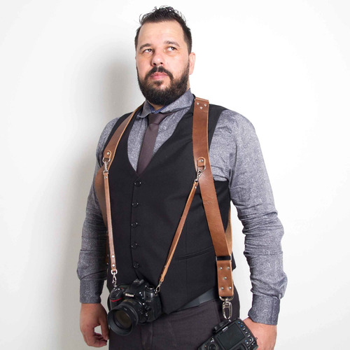 Alça Dupla Split Em Couro Legitimo Para Cameras Dslr Double