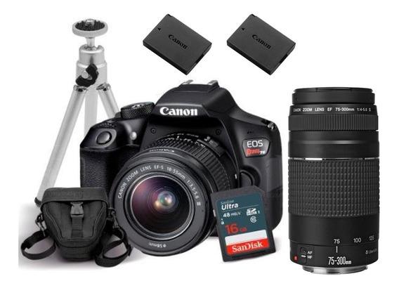 Câmera Canon Eos Rebel T6 Ef-s 18-55 + Lente Canon 75-300mm