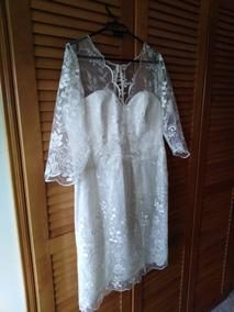 Vestido Blanco Novia, Corto, Sarga Y Encaje, Talla 46+