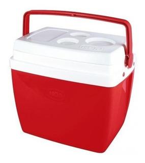 Caixa Térmica 34 Litros Cooler Mor Com Alça Vermelha