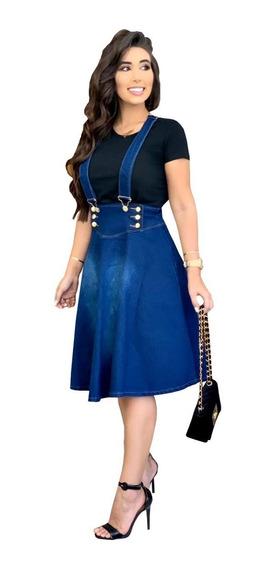 Jardineira Salopete Moda Evangélica Jeans Selena