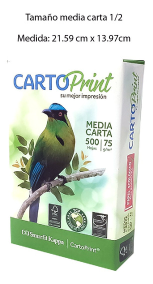 Resma Media Carta Cartoprint Cp4 Papel Bond 75gr 500 Hojas