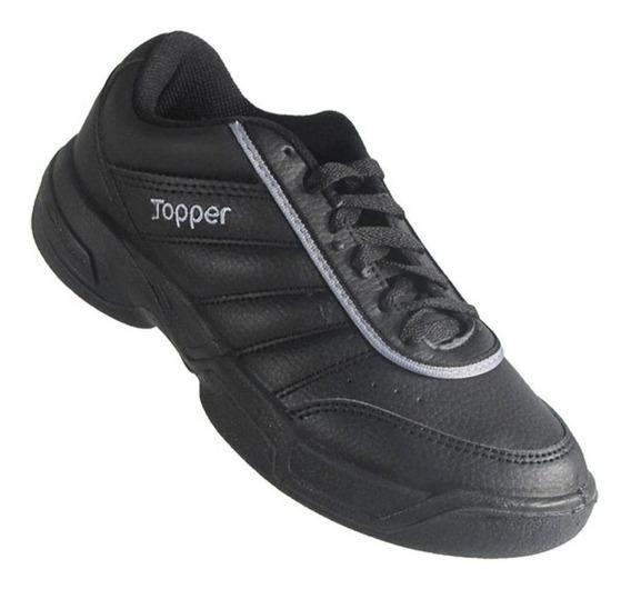 Zapatilla Topper Tie Break Negra Cuero Sintetico 29701