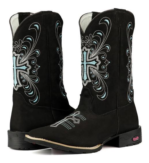 Bota Texana Feminina Bordado Cruz Verde Ramon Boots.