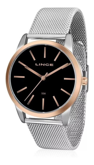Relógio Aço Lince Feminino Lrt4406l P1sx Prata Com Dourado