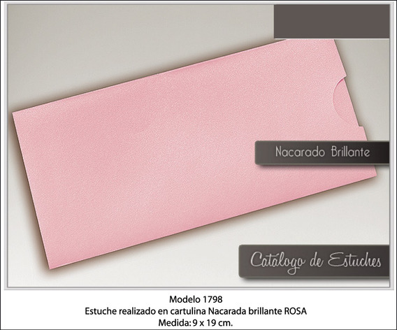 Sobres Ticket Rosa Perlado 9x19 Cm X100
