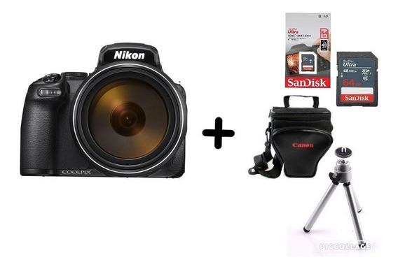Câmera Nikon Coolpix P1000 + Bolsa + Tripé + 64gb