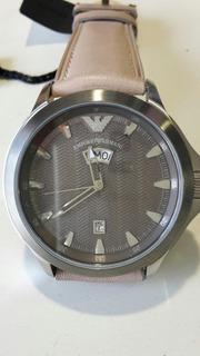 Reloj Pulsera Caballero Armani Acero Y Cuero Doble Calendari