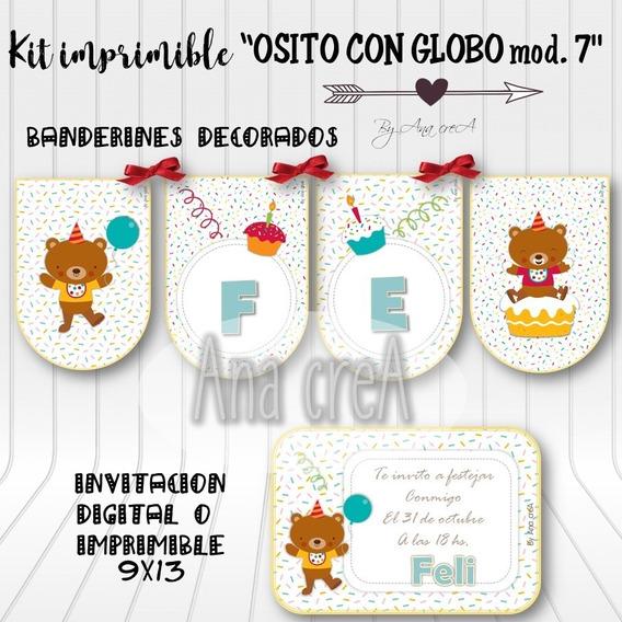 Kit Personalizado Osito Con Globo - Mod. 7 - Imprimible Oso