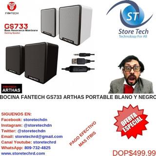 Bocina Fantech Gs733 Arthas Portable Blano Y Negro