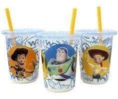 Set 3 Vasos Con Pitillos De Toy Story   Disney 10oz / 300ml