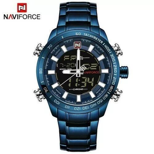 Relógio Masculino Naviforce Analógico E Digital Aço Azul